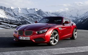 coupe, cars, BMW, red