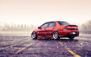 winter, cars, Mitsubishi