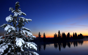 snow, river, sky, forest, sunset