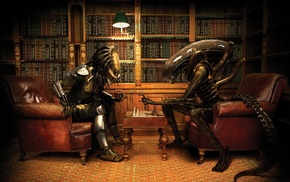 books, Alien movie, Alien vs. Predator, chess, Predator movie