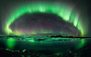 снег, Исландия, природа, ночь, Северное сияние