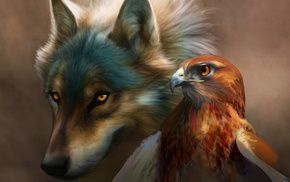 eagle, bird, wolf, painting, animals