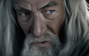 face, Gandalf, artwork, The Lord of the Rings