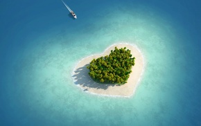 palm trees, heart, sea, nature, island