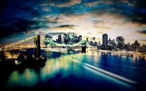 bridge, night, water, city, lights