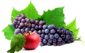 вкусно, яблоко, виноград