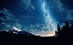 stars, stunner, night, sky, mountain