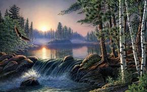 eagle, morning, stunner, landscape, river