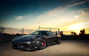 sportcar, wheels, cars, sunset, fence