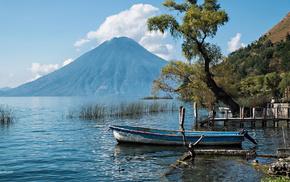 гора, лодка, Река, красота, вода, небо