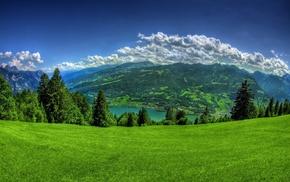 горы, альпы, зеленый, река, природа, небо