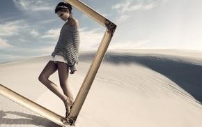 картина, пустыня, девушка, небо, креатив, позирует