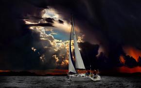 sailfish, ocean, sea, stunner, people