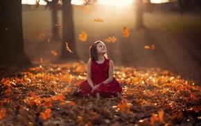 Sun, girlie, leaves, autumn, children