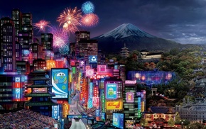 cities, volcano, neon, city, Tokyo