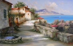 sea, sky, stunner, painting, mountain