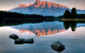 lake, mountain, water, sky, nature
