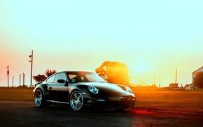 Sun, evening, cars