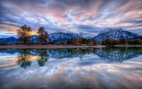 облака, природа, Обои природа, отражение., закат, деревья