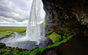 небо, облака, водопад, вода, природа, камень