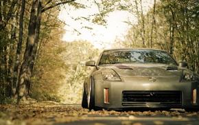 cars, autumn, road, trees, foliage