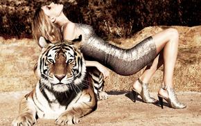платье, красиво, тигр, креатив, девушка, позирует