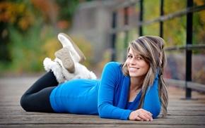 leggings, lying on front, girl, blue dress