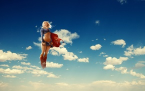 flying, Supergirl, superheroines, blonde, anime, clouds