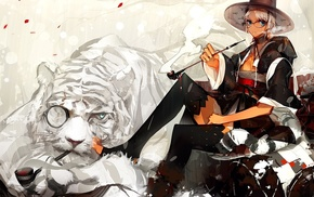 tiger, original characters, thigh, highs, anime girls