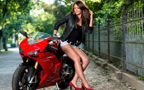 figure, fence, sexy, hair, motorcycle