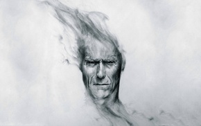 monochrome, Clint Eastwood, drawing, pencils, movies