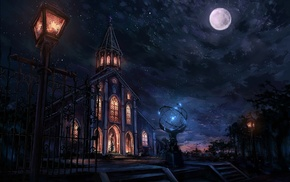 moon, church, fantasy art, city, night, cityscape