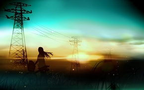 bicycle, fantasy art, silhouette, sunset, anime, utility pole