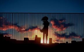 девушки из аниме, произведение искусства, фантастическое исскуство, закат, облака