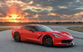 red, clouds, auto, sportcar, Sun