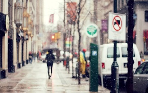 cityscape, blurred, winter, street, snow