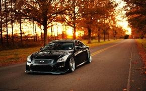 sportcar, black, nature, cars, sunset