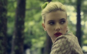 looking away, actress, girl, celebrity, red lipstick, Scarlett Johansson