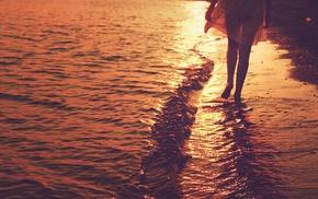 sunlight, beach, girl