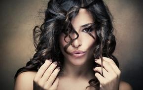 curly hair, brunette, girl, face