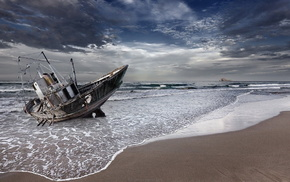 тучи, природа, океан, Баркас, пена, песок