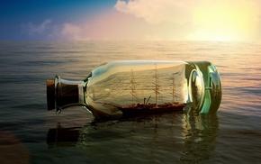stunner, ship, Sun, bottle, sea