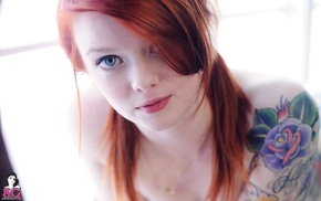 redhead, blue eyes, girl, Suicide Girls, face, tattoo