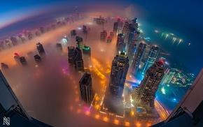 city, Dubai, cityscape, skyscraper, mist