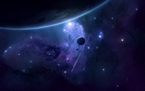 space, space art, JoeyJazz, digital art, planet, shooting stars