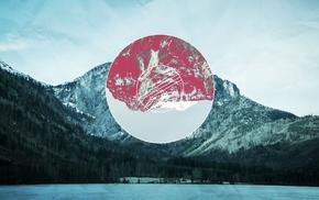 polyscape, lake, mountain, nature, circle