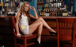 jean shorts, blonde, tattoo, Veronika Fasterova, shorts, girl