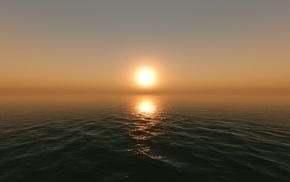 закат, восход, солнце, горизонт