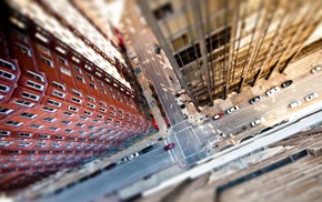 road, tilt shift, aerial view, building, New York City, car
