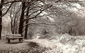 winter, snow, landscape, nature, bench